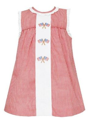 Anavini Baby / Toddler Girls Sleeveless Red Check Flags Dress