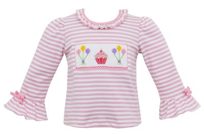 Anavini Baby / Toddler Girls Smocked Birthday Cupcake & Balloons Shirt - Pink Stripe
