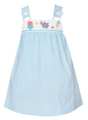Anavini Baby / Toddler Girls Turquoise Check Smocked Under the Sea Beach Dress
