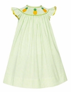Anavini Velani Baby / Toddler Girls White / Green Dots Smocked Pineapples Bishop Dress