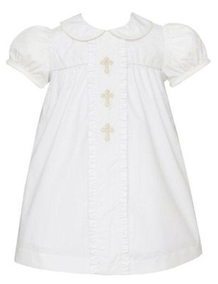 Anavini Baby / Toddler Girls White Poplin Embroidered Crosses Ruffle Float Dress