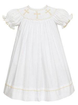 Anavini Baby / Toddler Girls White Poplin Smocked Crosses Bishop Dress