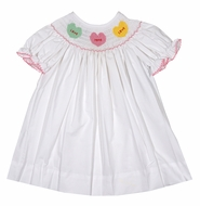 Anavini Baby / Toddler Girls White Smocked Dress - Pastel Valentines Conversation Hearts