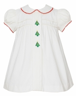 Anavini Baby / Toddler Girls Winter White Corduroy Christmas Trees Ruffle Dress