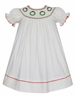Anavini Baby / Toddler Girls Winter White Corduroy Smocked Christmas Wreaths Dress - Bishop