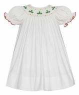 Anavini Baby / Toddler Girls Winter White Corduroy Smocked Holly Bishop Dress