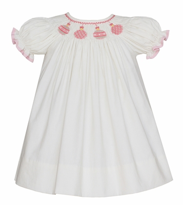 Anavini Baby / Toddler Girls Winter White Corduroy Smocked Pink Christmas Ornaments Bishop Dress