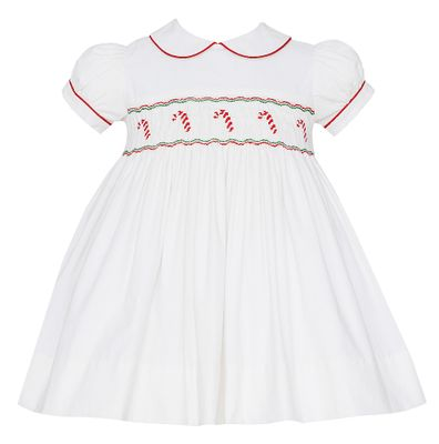 Anavini Baby / Toddler Girls Winter White Corduroy Smocked Candy Canes Float Dress