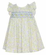 Anavini Baby / Toddler Girls Yellow / Blue Liberty Floral Smocked Bloomer Set