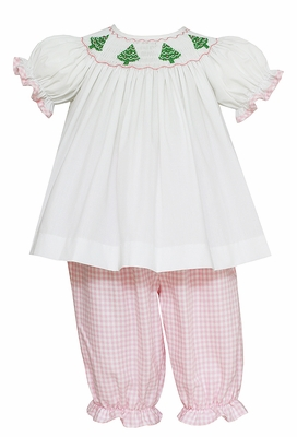 Anavini Baby / Toddler Girls Pink Check Pantaloon Set - Smocked Christmas Trees