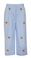Anavini Boys Blue Check Pull On Pants - Embroidered Orange Pumpkins