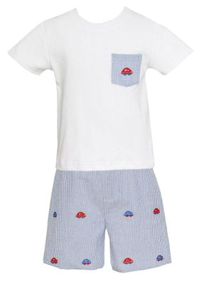 Anavini Boys Blue Gingham Seersucker Shorts - Embroidered Cars - Shirt with Pocket