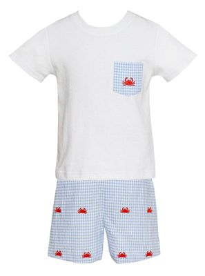 Anavini Boys Blue Gingham Seersucker Shorts - Embroidered Red Crabs - Shirt with Pocket
