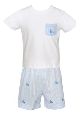 Anavini Boys Blue Stripe Embroidered Bunny Shorts Set - Shirt with Bunny Pocket