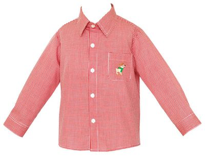 Anavini Boys Dress Shirt with Embroidered Reindeer - Red Check