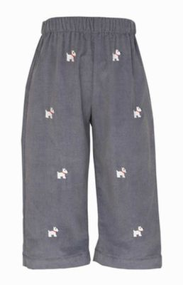 Anavini Boys Gray Corduroy Pull On Pants - Embroidered Scottie Dogs
