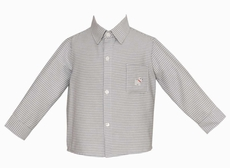 Anavini Boys Gray Gingham Dress Shirt - Embroidery Scottie Dog on Pocket