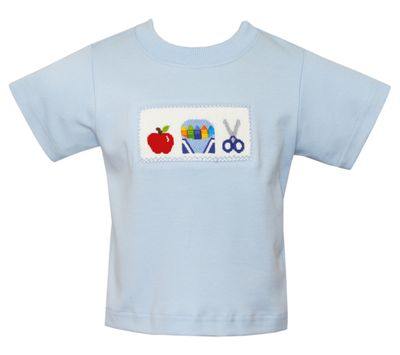 Anavini Boys Light Blue Smocked Apple / School Crayons & Scissors Shirt