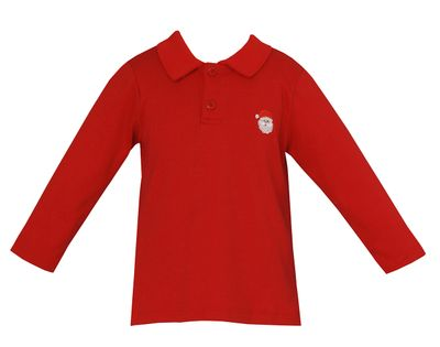 Anavini Boys Long Sleeved Red Polo Shirt - Embroidered Santa Face