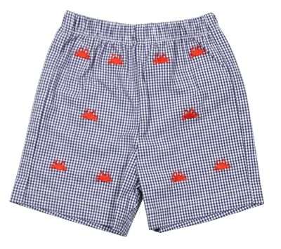 Anavini Boys Navy Blue Check Seersucker Shorts - Embroidered Red Crabs