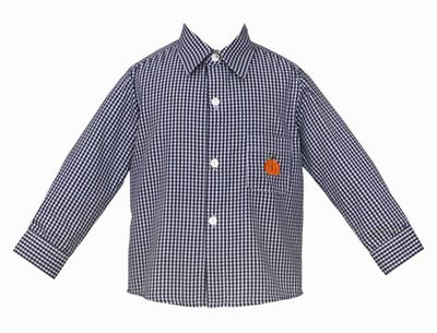 Anavini Boys Navy Blue Gingham Collared Shirt - Embroidered Orange Pumpkin