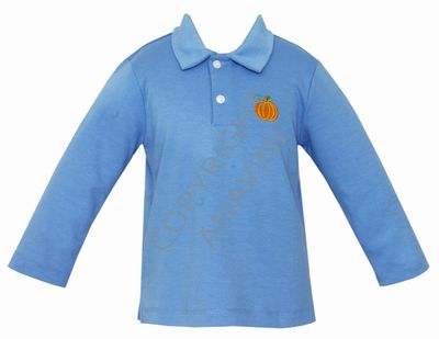 Anavini Boys Periwinkle Blue Polo Shirt - Embroidered Orange Pumpkin