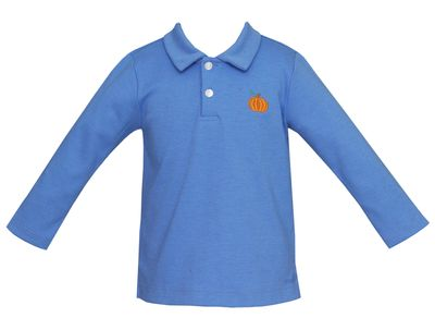 Anavini Boys Periwinkle Blue Polo Shirt - Embroidered Pumpkin
