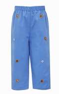 Anavini Boys Pull On Pants - Corduroy - Periwinkle Blue - Embroidered Sports Balls
