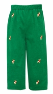 Anavini Boys Pull On Pants - Kelly Green Corduroy with Embroidered Reindeer