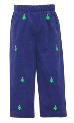 Anavini Boys Pull On Pants - Navy Blue Corduroy with Embroidered Christmas Trees