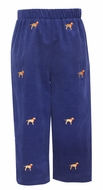 Anavini Boys Pull On Pants - Navy Blue Corduroy with Embroidered Labrador Dogs