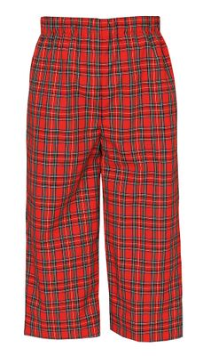 Anavini Boys Pull On Pants - Red Holiday Plaid
