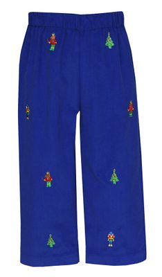 Anavini Boys Pull On Pants - Royal Blue Corduroy - Nutcracker Embroidery
