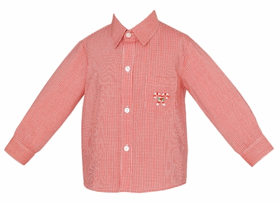 Anavini Boys Dress Shirt - Embroidered Candy Cane - Red Gingham