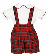 Anavini Boys Red / Green Holiday Plaid Suspender Shorts with Shirt