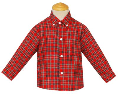 Anavini Boys Red Holiday Plaid Button Down Dress Shirt