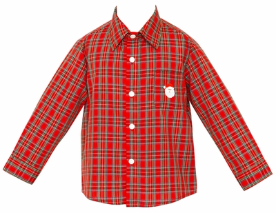 Anavini Boys Red Holiday Plaid Dress Shirt with Embroidered Santa Claus