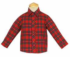 Anavini Boys Red Holiday Plaid Long Sleeved Dress Shirt