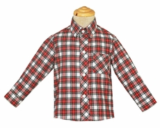 Anavini Boys Red / White Holiday Plaid Dress Shirt