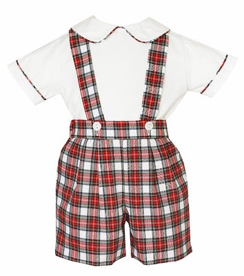 Anavini Boys Red / White Holiday Plaid Suspender Shorts with Shirt