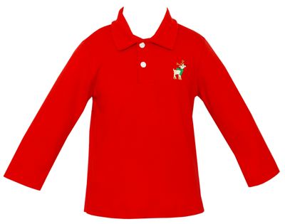 Anavini Boys Red Polo Shirt with Embroidered Reindeer