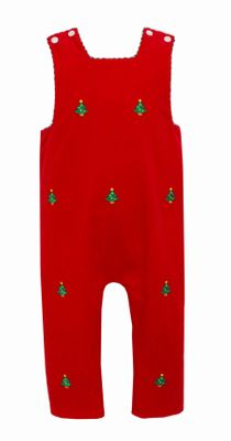 Anavini Boys Reversible Longall - Red Cord Embroidered Christmas Trees - Reverses to Plaid with Golf Bag
