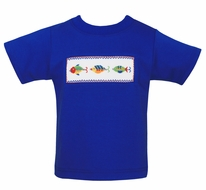 Anavini Boys Royal Blue Shirt - Smocked Fishing Lures