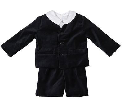 Anavini Boys Three Piece Eton Suit - Black Velvet