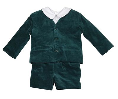 Anavini Boys Three Piece Eton Suit - Green Velvet