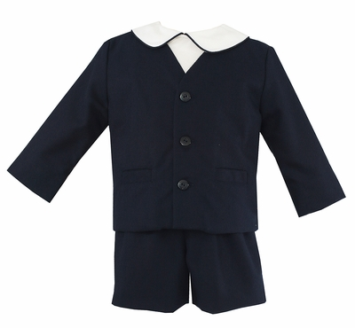 Anavini Boys Three Piece Eton Suit - Navy Blue