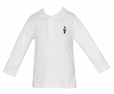 Anavini Boys White Polo Shirt - Embroidered Nutcracker Soldier