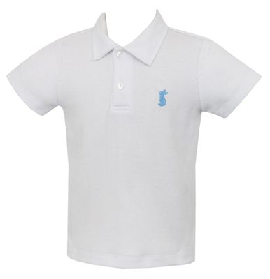 Anavini Boys White Shirt - Polo with Collar - Embroidered Blue Bunny