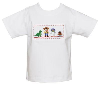 Anavini Boys White Shirt - Smocked Story Book Toy Friends