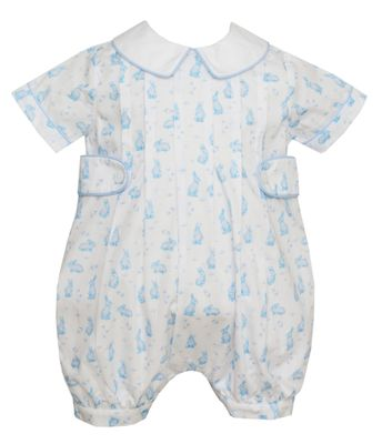 Anavini Couture Baby Boys Blue Easter Bunny Print Bubble with Collar